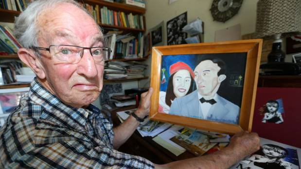 Actor Terence Burtenshaw with a picture of himself and a fellow cast member in 'Anything Goes', painted by Marlborough ...