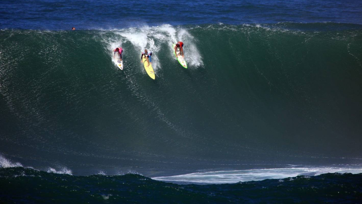7efa53e42a Hawaii surfers get once-in-a-lifetime 60-foot swells at Big Wave  invitational