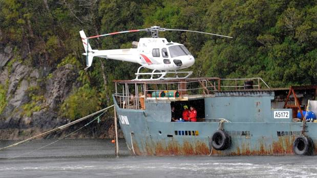 A Southern Lakes Helicopter in Fiordland's Breaksea Sound in 2011.