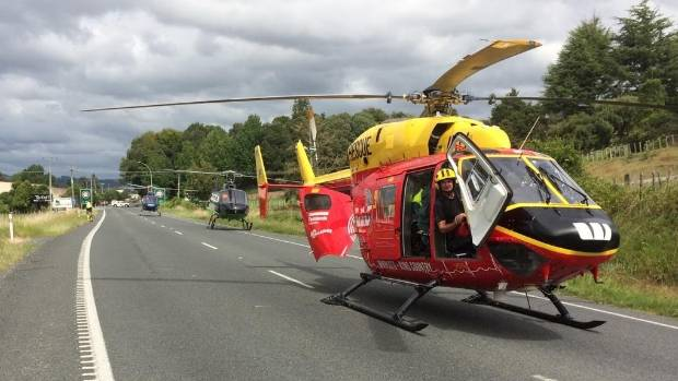 Three helicopters were called to the scene of the fatal accident.