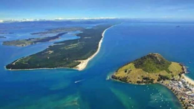 Rangiwaea Island sits just west of Matakana Island and Mount Maunganui in the Tauranga Harbour.