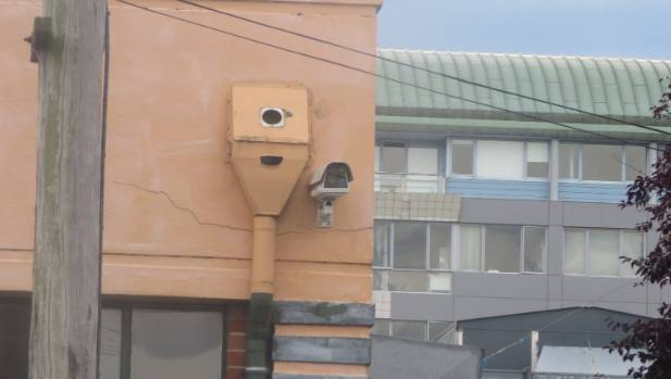A CCTV eyes up Hyde St in the University of Otago student quarter.