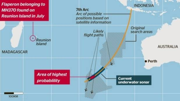 The area in the Southern Ocean where the extensive search MH370 took place.