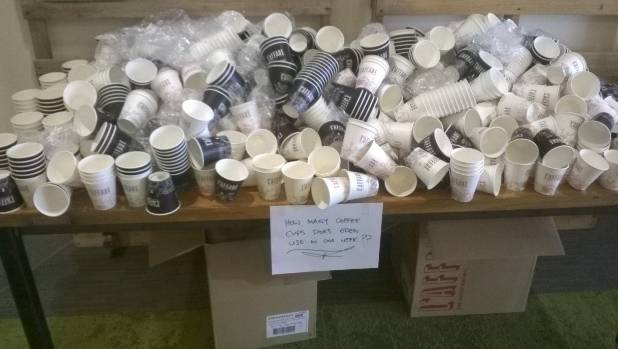 The number of takeaway coffee cups served at Eden Cafe at Dunedin's Otago Polytechnic campus each week.