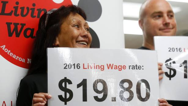 Rea Williams from The Fresh Desk cleaning company during the announcement of the 2016 New Zealand Living Wage rate.