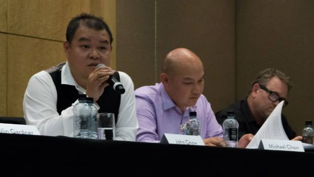 John, left, and Michael Chow held held an urgent meeting to consider the NZX recommendation to consolidate shares in ...