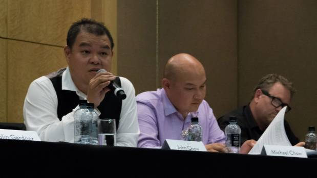 In March, John, left, and Michael Chow held an urgent meeting to consider the NZX recommendation to consolidate shares ...