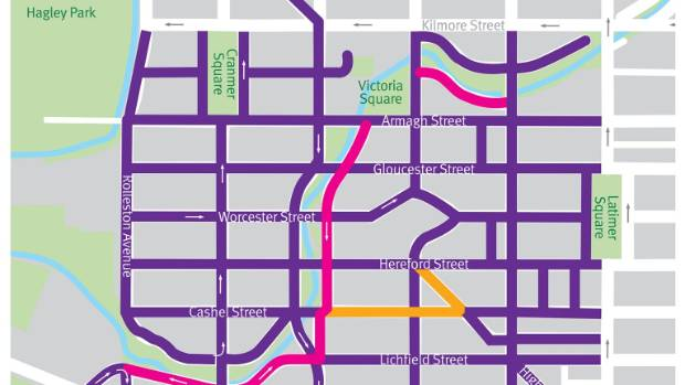The purple roads will have a 30kmh limit. The pink roads will have a 10kmh limit, and the yellow road is pedestrian only.