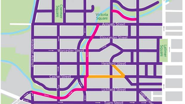 The purple streets have a 30kmh speed limit. The Avon precinct, in pink, will have a 10kmh limit. The yellow street is ...