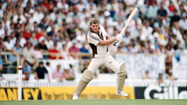 New Zealand batsman Martin Crowe cuts the ball in an Eden Park ODI in 1984.