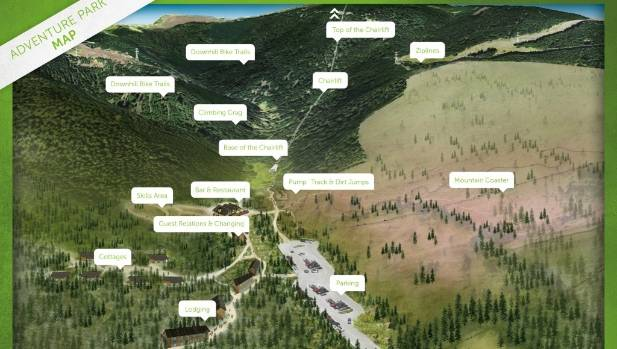 A birds-eye conceptual rendering of the Christchurch Adventure Park in the Port Hills.