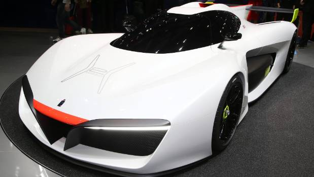 Pininfarina's H2 Speed track focused supercar concept that is hydrogen fuel cell powered on display at the Geneva auto show.