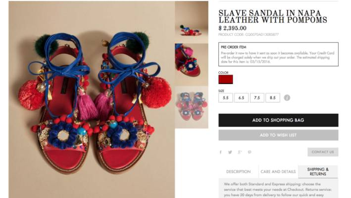 963466fdb Dolce & Gabbana back down after selling 'slave sandals' for $3560 ...