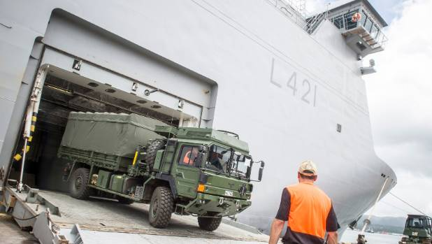 The HMNZS Canterbury unloading in Suva following its arrival in Fiji.