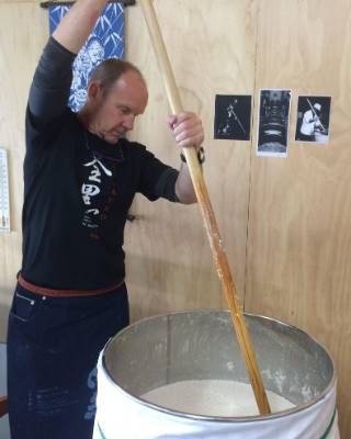 Dave Joll from Queenstown is mixing a brew.