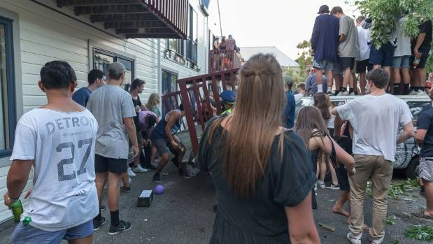 A balcony falls near a surprise Six60 concert in Dunedin on Friday night.