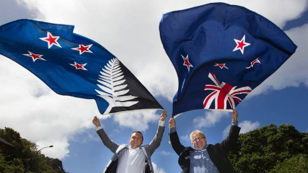 Porirua mayor Nick Leggett and Hutt mayor Ray Wallace with their flags of choice ahead of the flag referendum.