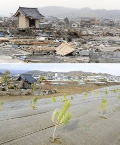 The tsunami-devastated Iwaki city in Fukushima prefecture is seen in these images taken April 27, 2011 and February 14, ...