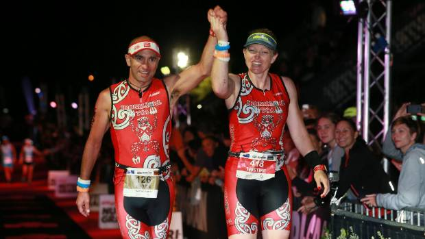 Manawatu's Kevin Nicholson, left, and his wife Tristine Emery completed the Taupo Ironman last weekend. Emery did so ...
