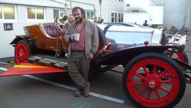 Sir Peter Jackson with Chitty Chitty Bang Bang, an item from his movie collection that will be housed in the new ...