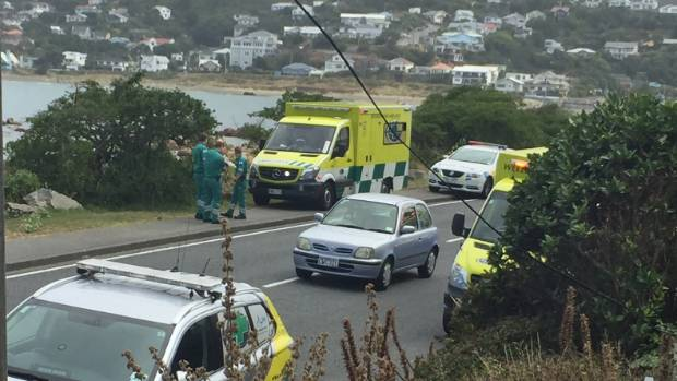 Police and ambulance at the scene of a diving incident in Island Bay, where a diver failed to surface.
