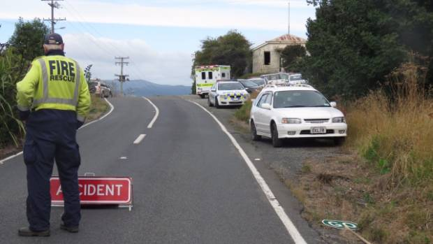 Emergency services at the scene of an incident near Seacliff, north of Dunedin, on Tuesday morning.