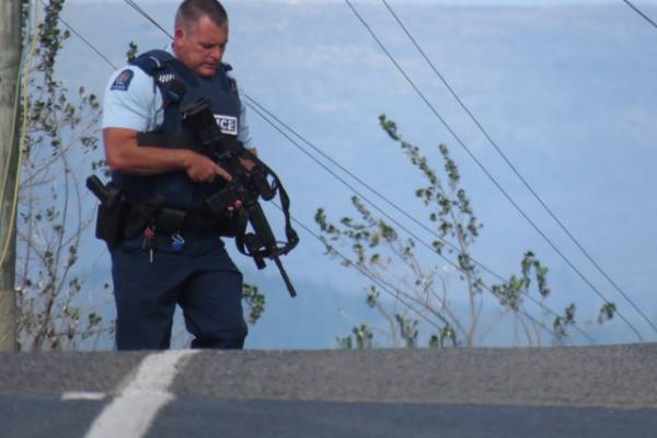 Armed police could be seen searching part of the Truby King Reserve at Seacliff, as well as a residential property nearby.