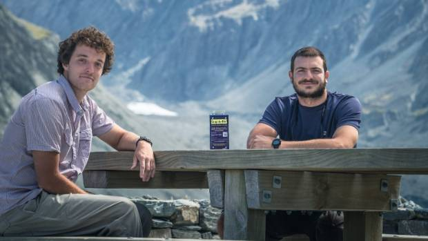 SnapShotME project organisers Christopher Butlin and Arthur Machado at the stand at Mount Cook.