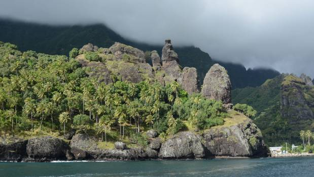 The rugged beauty of the Bay of Virgins, Fatu Hiva island, Marquesas.