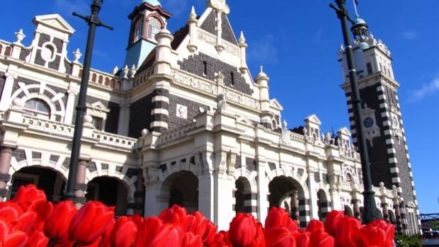 The Dunedin Railway Station is a grand piece of architecture.