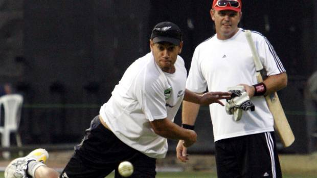 Ross Taylor trains under the watchful eye of his Bangalore coach Martin Crowe in the leadup to the 2012 IPL.