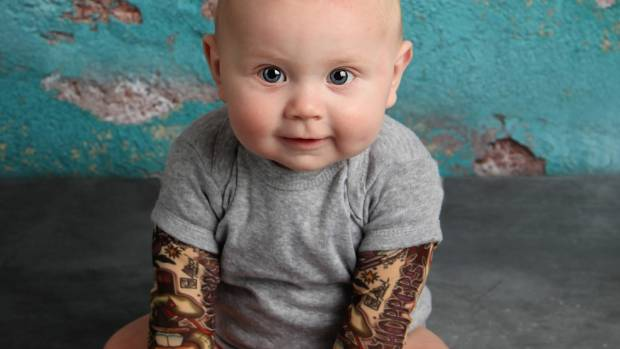 TotTude baby clothes feature faux sleeve tattoos.