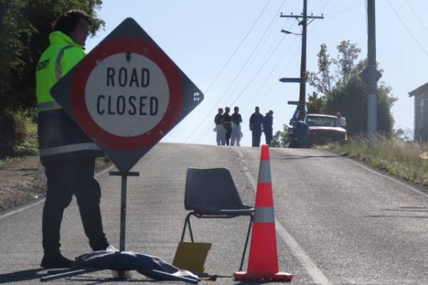Part of Coast Rd, at Seacliff north of Dunedin, remains cordoned off on Tuesday.
