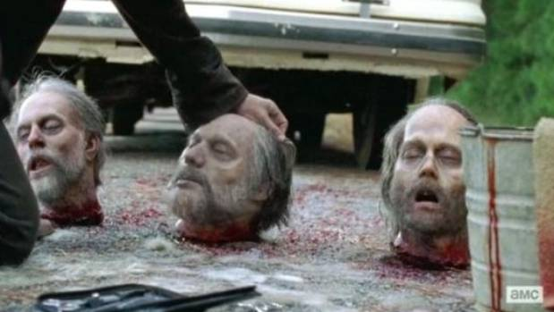 The severed heads as they appeared on The Walking Dead.
