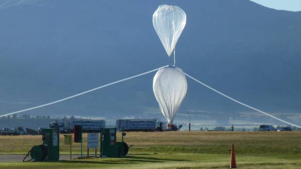 Nasa Balloon launch at Wanaka Airport, 2015. The main balloon is at the bottom. The tow balloon is on the top.