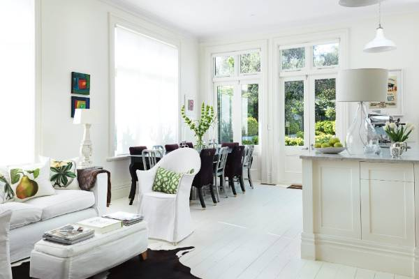 Bridget ensured the new open-plan area blended with the old part of the house by matching the window joinery and ...