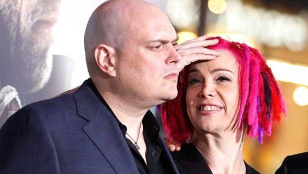 Lilly Wachowski before her transition, with sister Lana Wachowski, who transitioned some years ago.