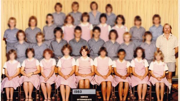 Teacher Robert Selwyn Burrett with his class at Howick Intermediate in 1983. The pupils are blurred with the exception ...