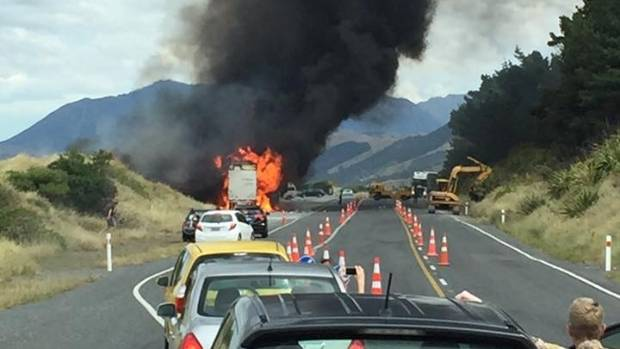 Truck fire near Kekerengu.