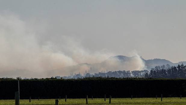 The smoke blew from the fire scene over Christchurch.