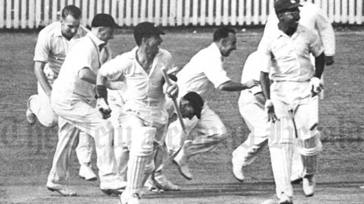 New Zealand celebrate first test win over West Indies in 1956.