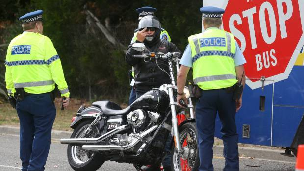 Bikies heading to Nelson for last year's poker run were met by a police checkpoint after leaving the Picton ferry terminal.