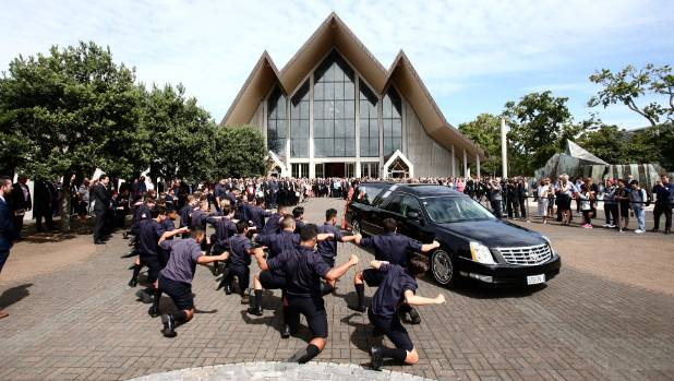 Martin Crowe is given a send-off by students of his former school Auckland Grammar who performed a haka after his casket ...