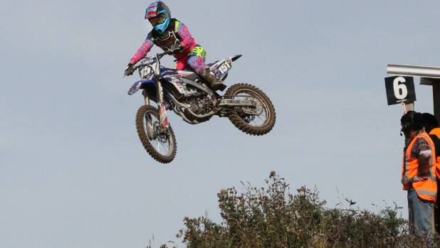 Otago's Courtney Duncan flies high while she competes at the Southland Motocross Championships at Invercargill's Sandy ...