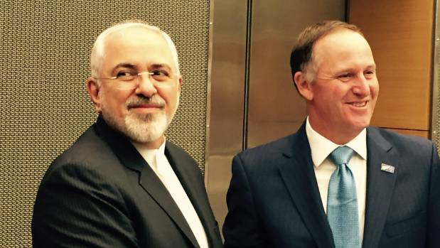 Prime Minister John Key meets Iranian Foreign Minister Javad Zarif in Wellington March 14, 2016