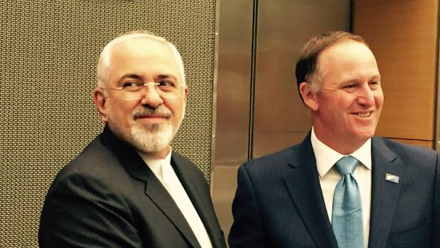 New Zealand Prime Minister John Key (right) meets Iranian Foreign Minister Javad Zarif in Wellington on the eve of the ...