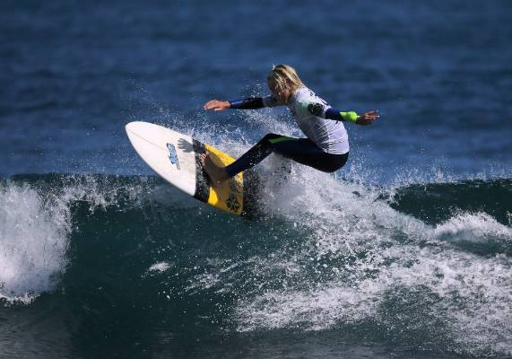 Geordi Boon does a re-entry during the Rip Curl GromSearch.