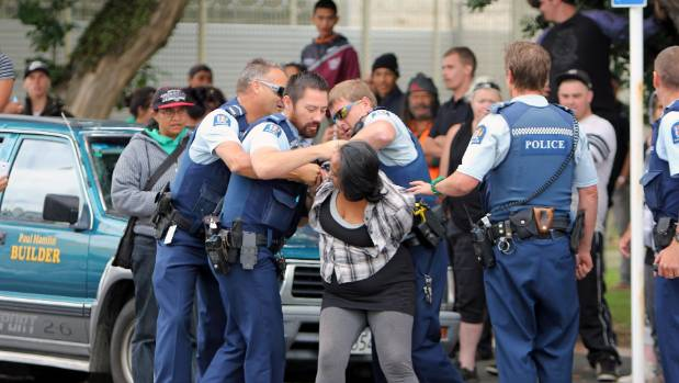 Several people were arrested following a protest outside the Hawera District Court  on March 1, 2016.