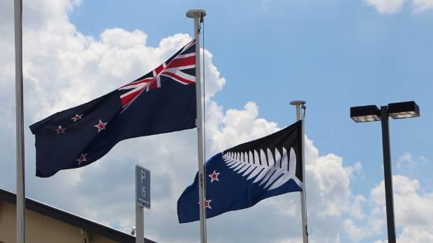 The Lockwood flag alongside the incumbent New Zealand flag.