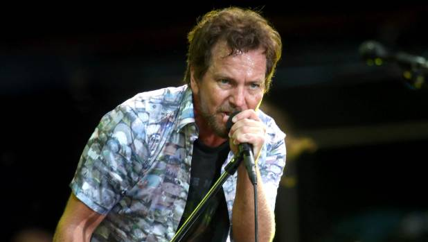 Eddie Vedder of Pearl Jam performing at Western Springs Stadium during the 2014 Big Day Out Festival.